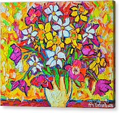 Spring Flowers Bouquet Colorful Tulips And Daffodils Acrylic Print by Ana Maria Edulescu