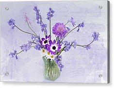 Spring Flowers In A Jam Jar Acrylic Print by Ann Garrett