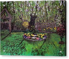 Acrylic Print featuring the painting Spring Garden by Judy Via-Wolff