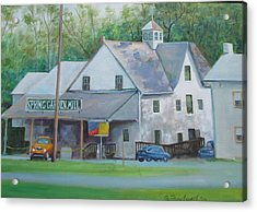 Acrylic Print featuring the painting Spring Garden Mill Playhouse by Oz Freedgood