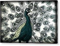 Spring Green Peacock Acrylic Print