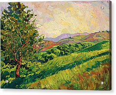 Acrylic Print featuring the painting Spring Greens by Erin Hanson