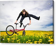 Spring Has Sprung - Bmx Flatland Artist Monika Hinz Jumping In Yellow Flower Meadow Acrylic Print by Matthias Hauser