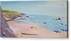 Spring Hills And Seashore At Bowling Ball Beach Acrylic Print