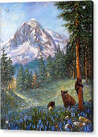 Acrylic Print featuring the painting Spring In The Cascades by Charles Munn
