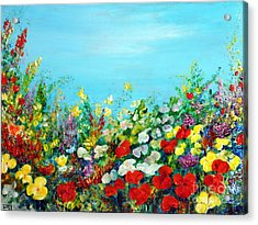 Acrylic Print featuring the painting Spring In The Garden by Teresa Wegrzyn