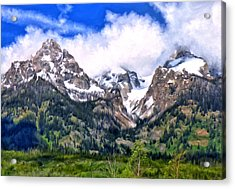 Acrylic Print featuring the painting Spring In The Grand Tetons by Michael Pickett
