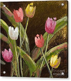 Spring Is Around The Corner With Gold Leaf By Vic Mastis Acrylic Print by Vic  Mastis