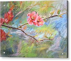 Acrylic Print featuring the painting Spring Peach Blosom by Jieming Wang