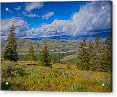 Spring Rain Across A Valley Acrylic Print by Omaste Witkowski