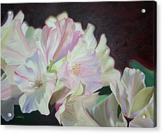 Acrylic Print featuring the painting Spring Rhodys by Nancy Jolley