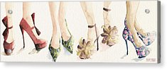 Spring Shoes Watercolor Fashion Illustration Art Print Acrylic Print by Beverly Brown