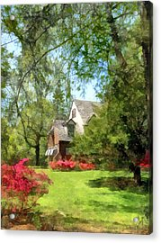 Spring - Suburban House With Azaleas Acrylic Print by Susan Savad