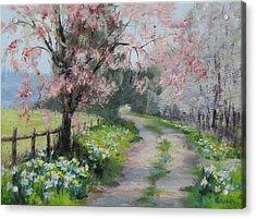 Spring Walk Acrylic Print by Karen Ilari