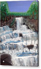 Acrylic Print featuring the painting Spring Waterfall by Carol Duarte