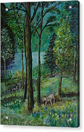 Spring Woodland With Dog - Painting Acrylic Print