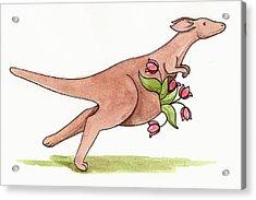Springtime Kangaroo Acrylic Print by Christy Beckwith