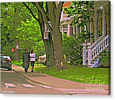 Springtime Stroll Through Beautiful Tree Lined Outremont Montreal Street Scene Art By Carole Spandau Acrylic Print