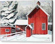 Springwater Barns Acrylic Print by Joan Hartenstein