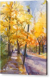 Acrylic Print featuring the painting Spruce Street Maples #2 by Nancy Watson