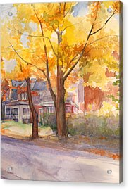 Acrylic Print featuring the painting Spruce Street Maples by Nancy Watson