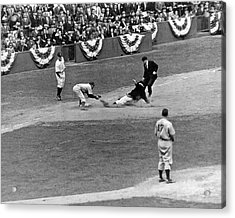 Spud Chandler Is Out At Third In The Second Game Of The 1941 Wor Acrylic Print by Underwood Archives