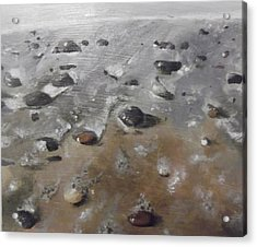Acrylic Print featuring the painting Spurn Point Beach by Cherise Foster
