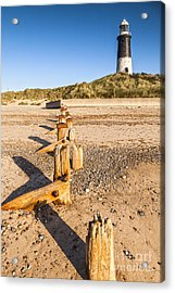 Spurn Point Lighthouse And Sea Defences Acrylic Print by Colin and Linda McKie