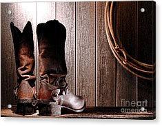 Spurs On Cowboy Boots Heels Acrylic Print by Olivier Le Queinec