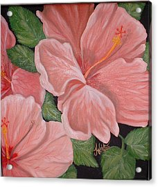 Square Foot Hibiscus Acrylic Print by Kathern Welsh