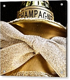 Square Gold Champagne Ornament Acrylic Print by Birgit Tyrrell