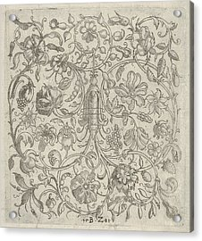 Square Panel With Vegetal Scrollwork Acrylic Print