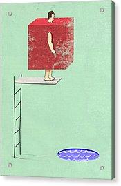 Square Peg Round Pool Acrylic Print by Steve Dininno