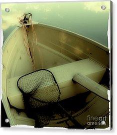 Square Polaroid Fishing Boat Acrylic Print by Birgit Tyrrell