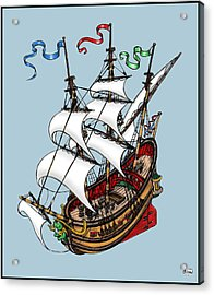 Square Rigged Wooden Ship Acrylic Print