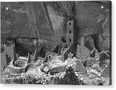 Square Tower At Mesa Verde Bw Acrylic Print