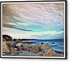 Squibby Cliffs And Mackerel Sky Acrylic Print by Kathy Barney