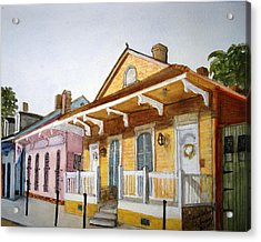 St. Ann Street Scene - French Quarter Acrylic Print by June Holwell