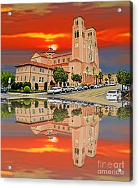 St Anne Church Of The Sunset In San Francisco With A Reflection  Acrylic Print by Jim Fitzpatrick