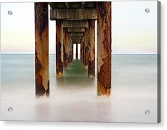 St. Augustine Beach Pier Acrylic Print by Marion Johnson