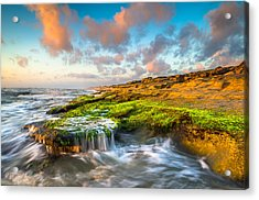 St. Augustine Fl Beach Sunrise - The Coquina Coast Acrylic Print by Dave Allen