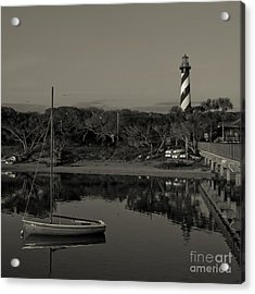 St. Augustine Lighthouse Beach Early Morning Monochrome Acrylic Print