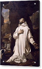 St Bruno Praying In Desert Acrylic Print by Nicolas Mignard