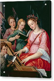 Saint Cecilia Accompanied By Three Angels Acrylic Print by Michiel I Coxie or Coxcie