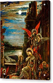 St Cecilia The Angels Announcing Her Coming Martyrdom Acrylic Print by Gustave Moreau