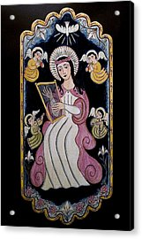 St. Cecilia With Harp And Angels Acrylic Print by Ellen Chavez de Leitner