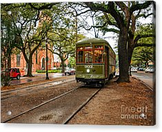 St. Charles Ave. Streetcar In New Orleans Acrylic Print by Kathleen K Parker