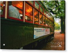 St. Charles Ave Streetcar Whizzes By - Digital Art Acrylic Print by Kathleen K Parker