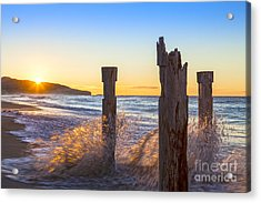 St Clair Beach Dunedin At Sunrise Acrylic Print by Colin and Linda McKie