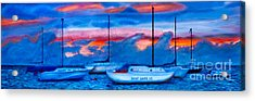 St Croix Sailboats At Sunset Painted In Oil Acrylic Print by Iris Richardson